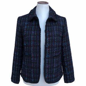 Ann Taylor Tweed Fringe Blazer Jacket
